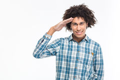 Happy afro american man saluting Royalty Free Stock Photo