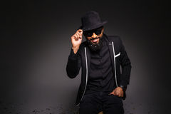 Happy afro american man in stylish cloth Stock Photos