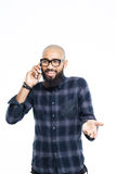 Happy afro american man talking on the phone Royalty Free Stock Images