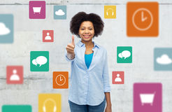 Happy afro american woman showing thumbs up Royalty Free Stock Photo