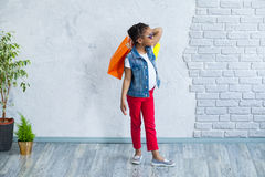 Happy afro girl with shopping bags Royalty Free Stock Images