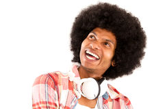 Happy afro man with headphones Stock Images