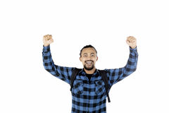 Happy Afro student in studio Royalty Free Stock Image