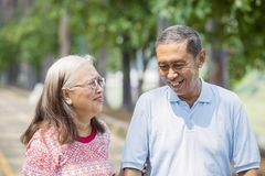 Happy aged couple chatting in the park. Picture of an aged couple looks happy while chatting together in the park stock photography
