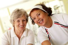 Happy aged females Stock Photo