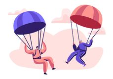 Happy Aged Pensioner Characters Doing Extreme Sport, Skydiving with Parachute, Senior Man and Woman Skydivers Wearing Sports Wear. Uniform Floating in Sky with royalty free illustration