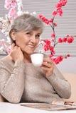 happy aged woman royalty free stock photo