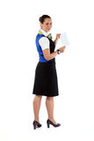 Happy air hostess holding ticket Stock Images