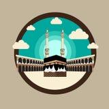 Happy al hajj mubarak celebrating. Happy al hajj mubarak with kaaba and lantern, , creative and cool vector illustration