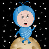 Happy Alien in Outer Space Cartoon Character. Cute happy alien child cartoon character walking on a planet with an outer space background stock illustration