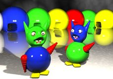 Happy aliens. A bunch of happy aliens freezing in the cold Stock Photography