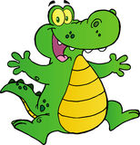 Happy alligator jumping. Happy green alligator with outstretched arms Royalty Free Stock Photography