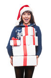 Happy amazed woman holding many boxes Royalty Free Stock Images