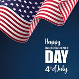 Happy America Independence day vector illustration. With waving American flag on dark background Royalty Free Stock Images