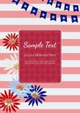 Happy American holiday poster. Template Design poster. Blank text frame. Hand drawn flowers silhouette. American flag colors. Wedding invitation card, holiday Stock Photography