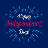 Happy american independence day card with firework on cyan background. For sale banner, decoration, poster, greeting card, flyer. Sunburst vector illustration Royalty Free Stock Images