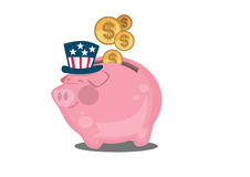 Happy American piggy bank. Pink cartoon American Piggy Bank with happy face, Uncle Sams hat and gold coins with the dollar symbol on a white background Royalty Free Stock Photo