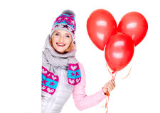 Happy american woman with red balloons and banner Stock Photo