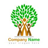 Family tree logo illustration. Happy family tree logo beautiful illustration with green leaves - vector on white background royalty free illustration