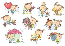 Happy And Cute Little Girl Set, Vector Stock Photo