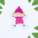 Happy angel girl in the snow stock illustration