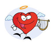 Happy Angel Red Heart Man. Happy Angel Red Heart With Lyre stock illustration