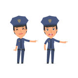 Happy and Angry Character Constabulary making presentation using Stock Photos