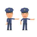 Happy and Angry Character Officer making presentation using his Royalty Free Stock Photos
