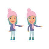 Happy and Angry Character Winter Girl making presentation using his hand Royalty Free Stock Photography