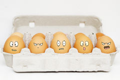 Happy and angry eggs Royalty Free Stock Photo