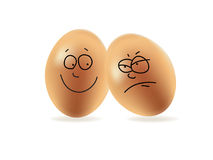Happy and angry eggs. Illustration of happy and angry eggs Royalty Free Stock Photo