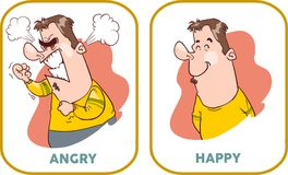 Happy and angry man. Royalty Free Stock Photography
