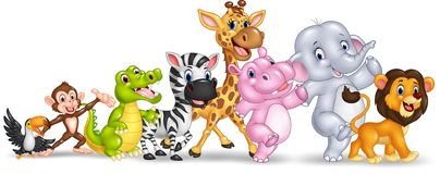 Happy animal africa  on white background Royalty Free Stock Images