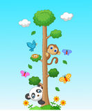 Happy animal cartoon with tall tree Stock Image