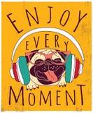 Happy animal pug enjoy music poster sign. Stock Photos