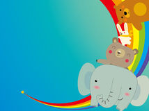 Happy animals. Vector illustration of Happy animals  on rainbow Stock Photography