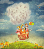 Happy animals in the   air balloon in the sky Royalty Free Stock Photography