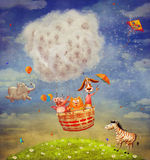 Happy animals in the   air balloon in the sky Stock Photo