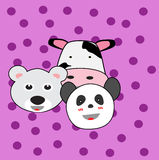 Happy Animals Cartoon. Happy Animals cow, polar bear & panda cartoon for website, t-shirt kids, drawing books. wallpaper bedroom Royalty Free Stock Photos