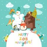 Happy animals celebrating Christmas. Vector greeting card Royalty Free Stock Photo