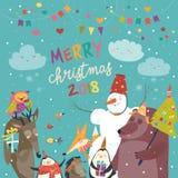 Happy animals celebrating Christmas. Vector greeting card Stock Image