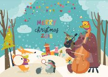 Happy animals celebrating Christmas. Vector Merry christmas card with animals and music Royalty Free Stock Images