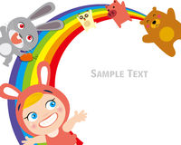 Happy animals and child. Vector illustration of Happy animals and child on rainbow Royalty Free Stock Photography