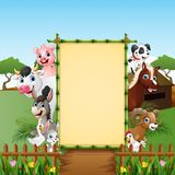 Happy animals farm with blank sign. Illustration of Happy animals farm with blank sign Stock Photo