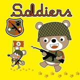 Happy animals soldier cartoon with rifle. Playing war with cute animals on yellow background. Vector cartoon illustration, no mesh, vector on eps 10 Stock Photography