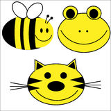 Happy Animals Tiger Bee Frog. Happy smiling animal faces of tiger, frog and bee, ideal for educating young children stock illustration