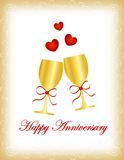 Happy anniversary. Card in red letters with two wine glasses and red hearts on white background with golden border / frame. For personal wedding event or royalty free illustration