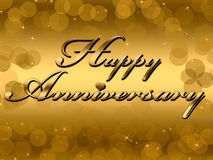 Happy Anniversary. Golden Background Illustration Stock Image