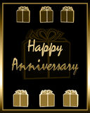 Happy Anniversary. Card in gold letters with matching presents with bows on black background with gold border frame. Good for personal wedding event or even Royalty Free Stock Image