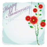 Happy anniversary. Label with text and roses Royalty Free Stock Images